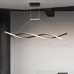 Image 3 - النيو بصيص مطفي أسود أو رمادي الثريا الحديثة Led الحد الأدنى لغرفة المعيشة غرفة الطعام غرفة المطبخ سطح شنت الثريا