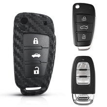 Flip Folding Remote Key Protection Shell For Audi A4L A6L A5 A7 A8L Q3 TT Q5 Q7 Accessories Carbon Car Key Cover case 3 Button автомагнитола audi a6l a4l q5 q7 a8l cd mp3 cd