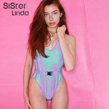 Sisterlinda Sexy Colorful Reflective Women Bodysuit Sashes Strap Backless Party Rompers Slim Short Playsuit Mujer New Bodysuit