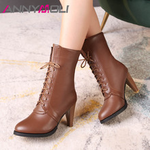 ANNYMOLI Winter Ankle Boots Women Lace Up Spike Heel Short Fashion Extreme High Shoes Ladies Autumn Large Size 34-45