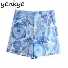 YENKYE-pantalones cortos con estampado Floral para mujer, pantalón corto Vintage de cintura alta con cremallera para mujer, pantalones cortos de verano