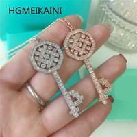 Tiff HGMEIKAINI 925% pure silver necklace 1:1 ms rose gold charm clavicle in Europe and the original key chain