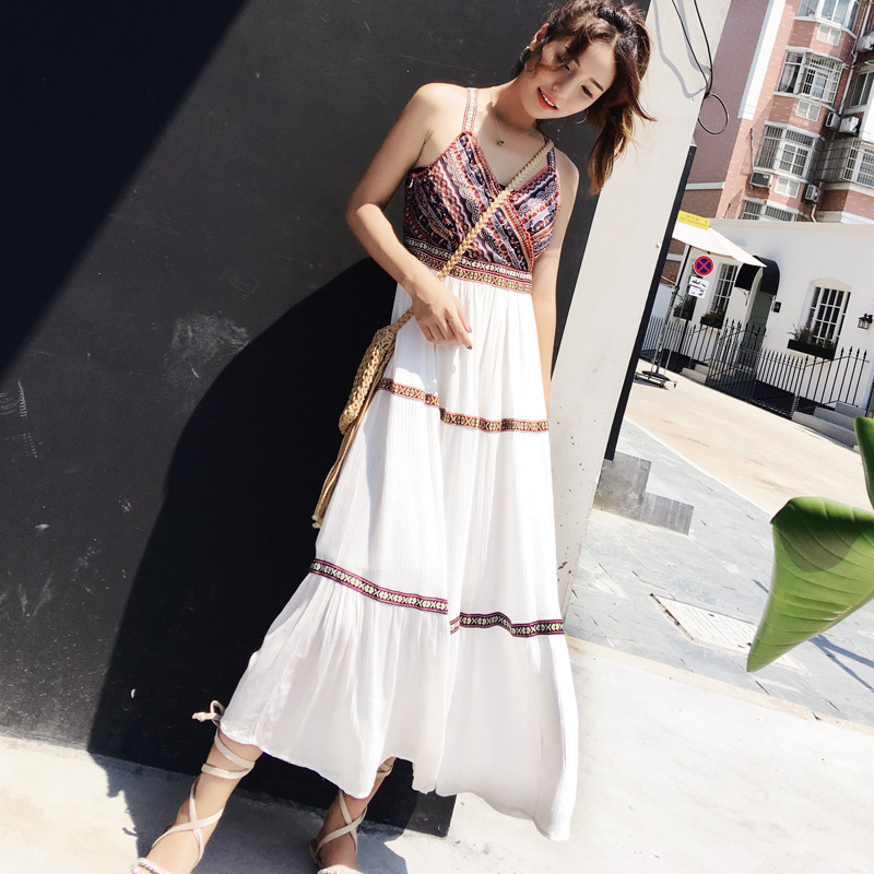 2019 Spring New Style Ethnic-Style Beach Skirt Camisole Off-Shoulder Printed Chiffon Maxi Dress Slimming Fashion WOMEN'S Dress