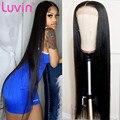 Волосы Luvin, бразильские, Реми, прямые передние парики из человеческих волос, предварительно выщипанные 30 32 дюйма, фронтальный парик на сетке ...