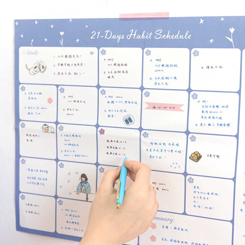1 Set Students Study Planner 2020 Office Work Target 100 Days Weekly Monthly Wall Calendar Agenda Schedule With Note Sticker