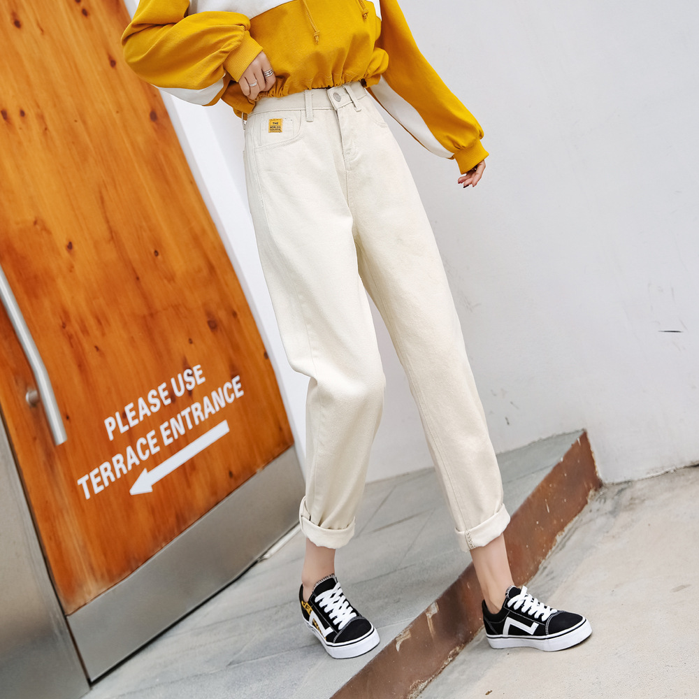 Jeans Women's 2019 Spring Clothing New Style Harem Pants Women's Loose-Fit Ripped Pants Children Straight-Cut High-waisted Dad P