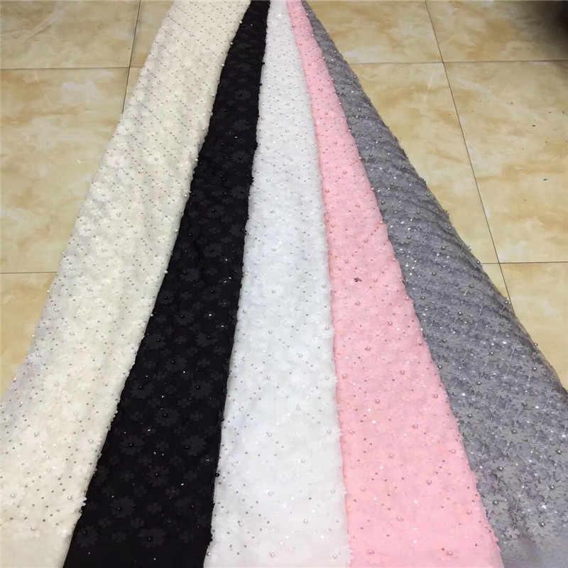 Africano perline paillettes Tessuto di Pizzo 2019 di Alta Qualità Del Merletto Francese Netto Del Ricamo di Tulle Tessuti di Pizzo Per Il Nigeriano Partito del Vestito