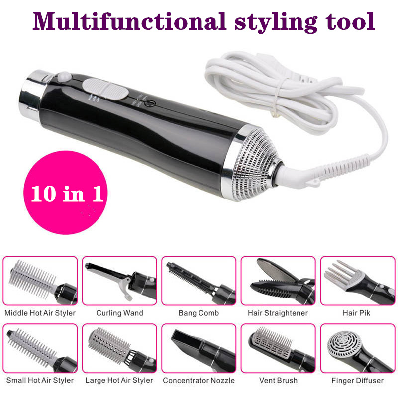 10 In 1 Multi function Hot Air Brush Negative Ion Hair Straightener Curlers Combs Hair Dryer Styling Tools|Hair Dryers| |  - title=
