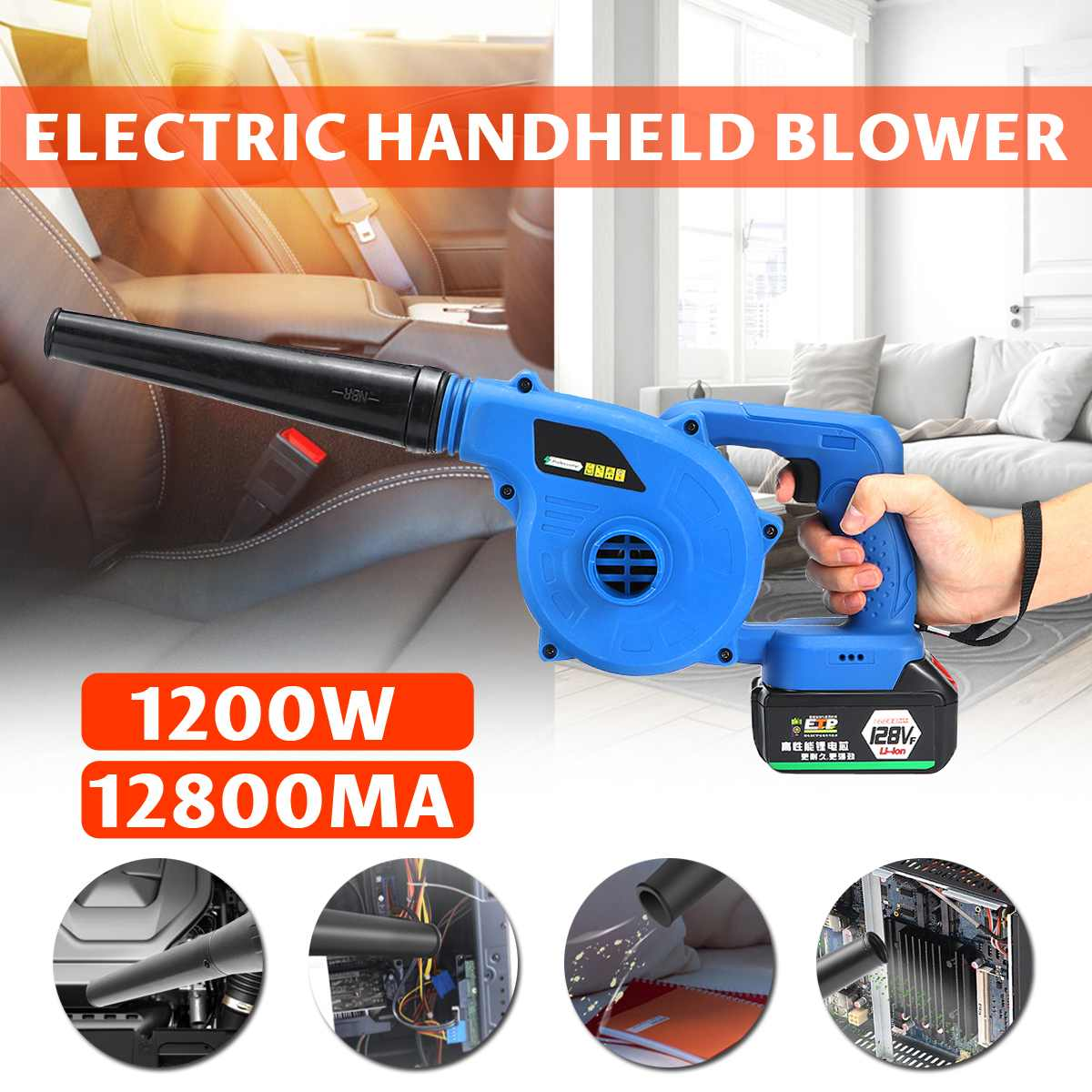 220V Cordless Electric Air Blower Handheld Blowing Lithium Battery Rechargeable Computer Dust Soot High Power Wireless Blower|Blowers| |  - title=