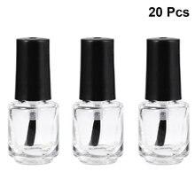 20pcs 5ml Frasco de Spray Frasco de Perfume de Embalagem Transparente Garrafa de Vidro Unha Polonês Garrafa Vazia Com Escova Preto Tampa Superior