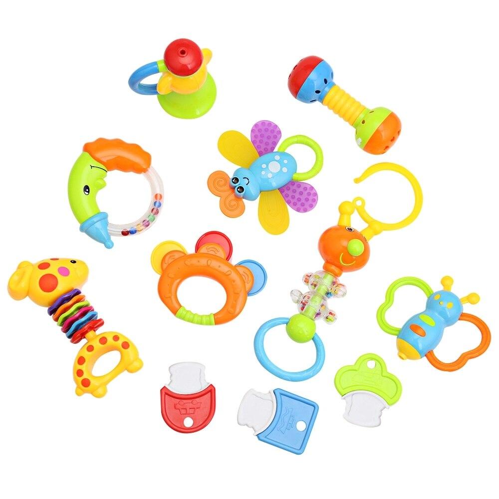12 pcs/Lots bébé hochets bébé jouet 0-1 an nouveau-né bébé hochets à main combinaison avec un mignon pot éducation et apprentissage jouets