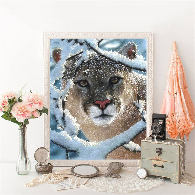 HUACAN 5D Diamond Painting Full Square Asnow Leopard Diamond Art Embroidery Animal New Arrival Home Decoration