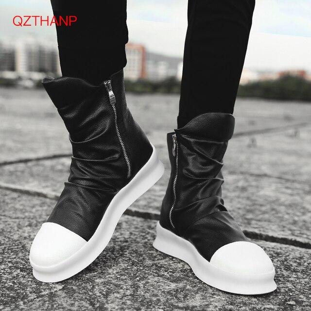 2018 Erkek motosiklet botları Erkek ayakkabıları Rock PU deri açık rahat su geçirmez botlar Erkek ayakkabısı Erkek yetişkin daireler Erkek Ayakkabi