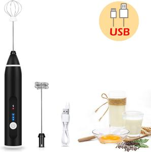 Rechargeable Milk Frother Handheld Electric Foam Maker with 2 Stainless whisks 3-Speed Adjustable Mini Blender Perfect for Egg