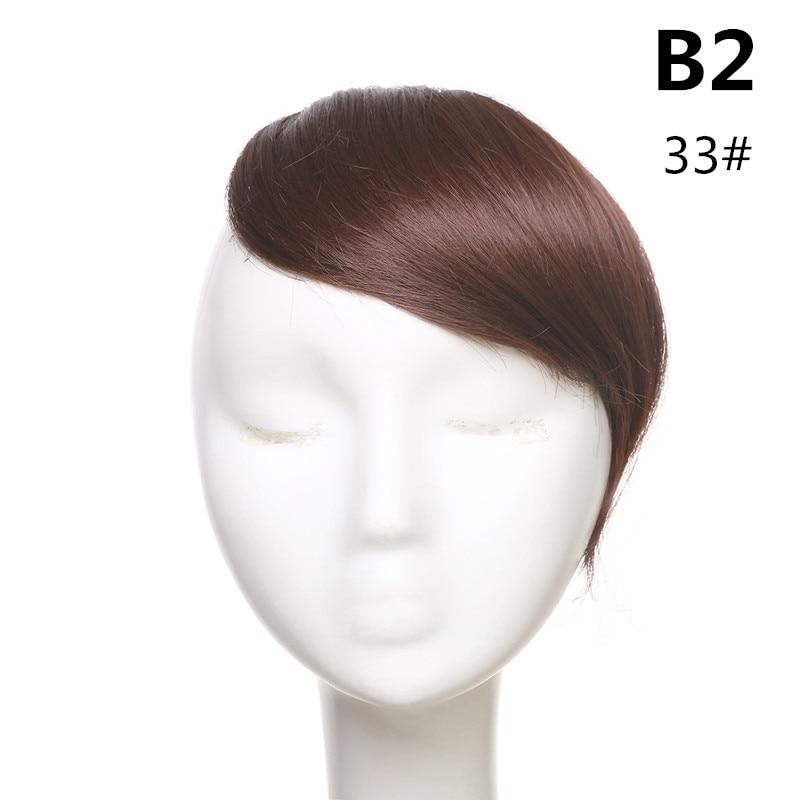 SARLA волосы челка клип в подметание боковая бахрома поддельные накладные взрыва натуральные синтетические волосы кусок волос черный коричневый B2 - Цвет: 33