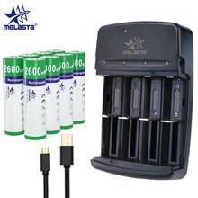 Melasta AA 1.65V 2600mWh NIZN Rechargeable Battery with 4 slots LED USB charger Ni Zn rechargeable batteries for camera toys MP3
