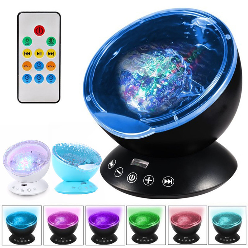 Ocean Wave Projector Lamp Remote Control Undersea Night Lamp 7 Color Changing Music Player Night Lights For Baby Kids Room Decor