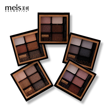 MEIS New Arrival Charming Eyeshadow 6 Color Eye shadow Palette Make up Palette Shimmer Pigmented EyeShadow Powder Fashion Color цена 2017