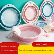 Folding Basin Outdoor Travel Portable Plastic Laundry to Wash the Dishes of Bathroom Kitchen Small Green Space