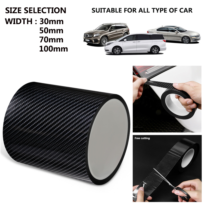 Carbon Fiber Car Sticker Protector Strip Nano Sticker Auto Door Sill Anti Scratch Tape Collision Scuff DIY Paste Protection Film