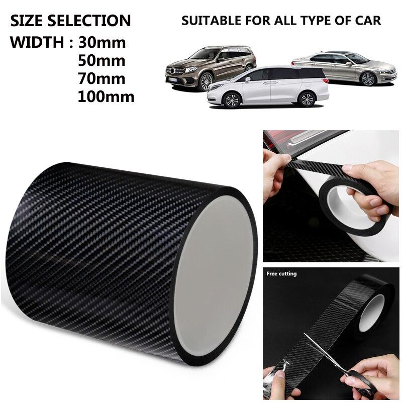 Fibre de carbone voiture autocollant bande de Protection Nano autocollant Auto porte seuil anti-rayures bande Collision éraflure bricolage pâte Film de Protection