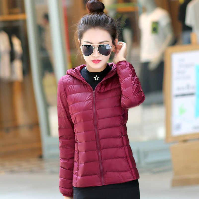2019 ใหม่ Ultra light down แจ็คเก็ตสตรีฤดูหนาวหญิงแขนยาว Slim jacket lady เสื้อผ้าขนาดใหญ่ขนาด S-6XL