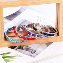 HOCOLE Vintage Stone Bead Bracelets For Women Ethnic Tibetan Silver leaves Pendant Bangles & Bracelet Boho Handmade Jewelry 2019