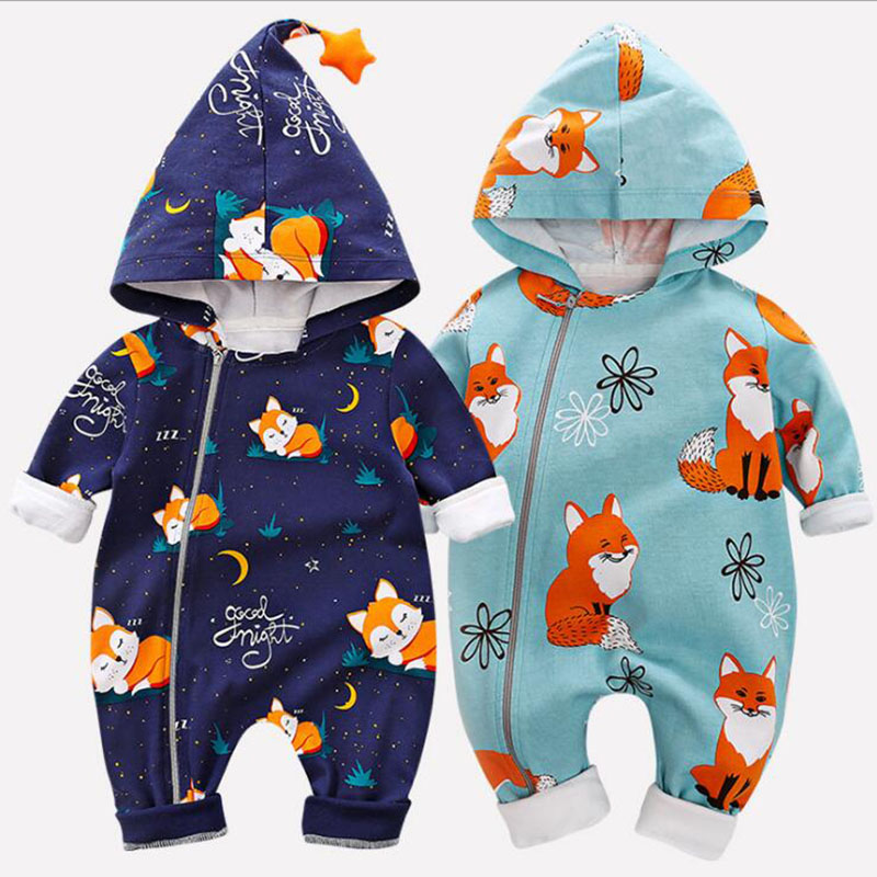 Newborn Boys And Girls Cartoon Onesies Autumn Spring Baby Cotton Clothes Hooded Long Sleeve Zipper Jumpsuit Kids Overalls