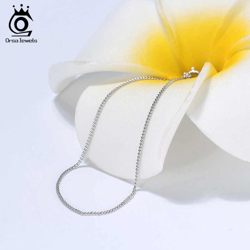 Orsa jóias italiano 925 prata esterlina 1.0mm lado corrente colar pingente de prata esterlina colares masculino corrente SC18-P