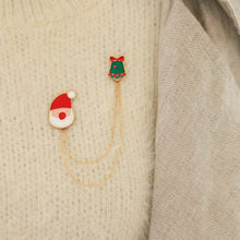 Hello Miss New Christmas Decoration Brooch Creative Wind Double Hanging Chain Collar Fashion Womens
