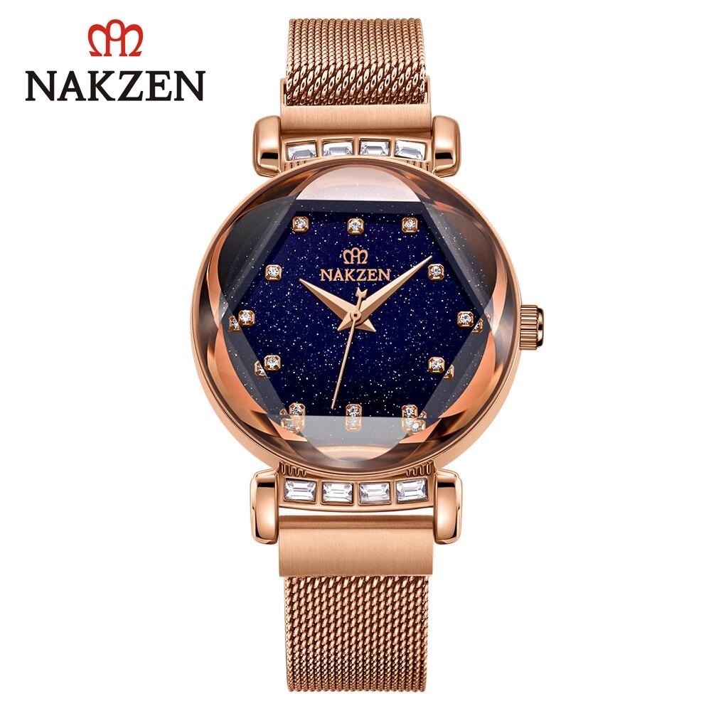NAKZEN Women's Watches Quartz Watches Starry Sky Sports Watch Waterproof Female Luxury Christmas Woman Watch With Rhinestones