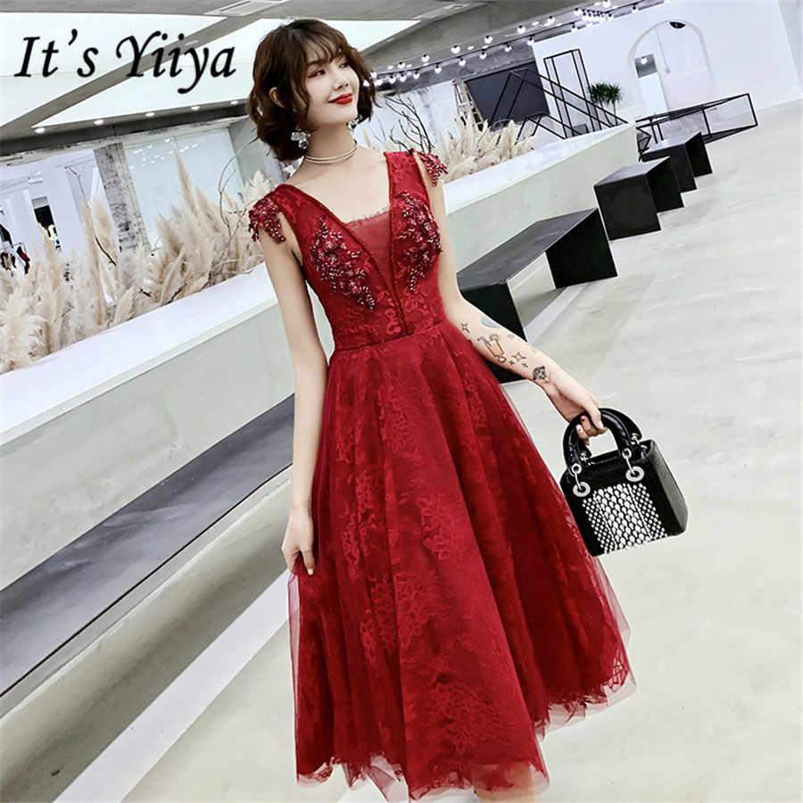 זה Yiiya שמלות נשף בתוספת גודל אלגנטי vestidos דה גאלה בורגונדי V-צוואר שרוולים קצר נשים לבוש הרשמי 2020 E1283