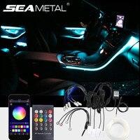 Auto Innen Umgebungs Lichter Universal Dashboard Tür Lücke Licht streifen Dekoration Lampe APP/Fernbedienung RGB LED Flexible Lichter