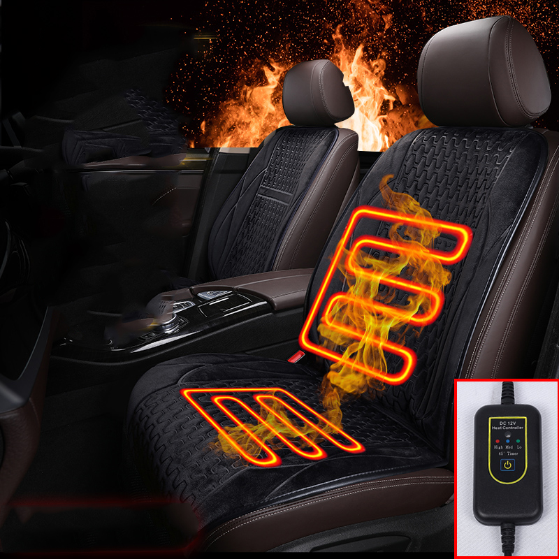 Car Auto Front Seat Hot Heated Cushion Warmer Durable Protector Cover Black