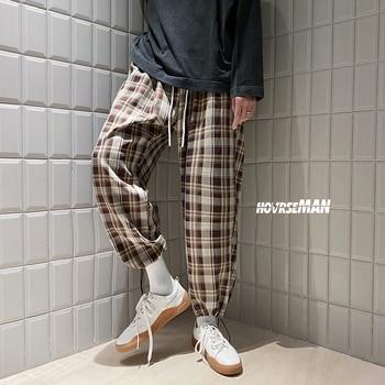 2020 autumn new arrival Korean Black Plaid Casual Pants Mens Streetwear Harem Pants Male Checkered Trousers Plus Size - Brown, 5XL