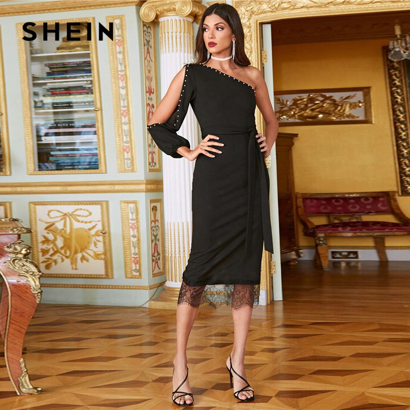 SHEIN Black One Shoulder Split Sleeve Pearls Beaded Lace Hem Belted Dress Women Spring Glamorous Sexy Empire Fitted Long Dresses 1