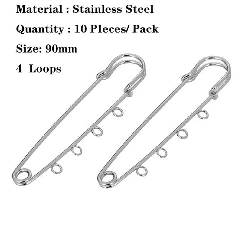Baru Bros Logam Emas Safety Pin Bros dengan Loop Fitting DIY Bros untuk Wanita Dasar Membuat Perhiasan Supplier 80 90mm