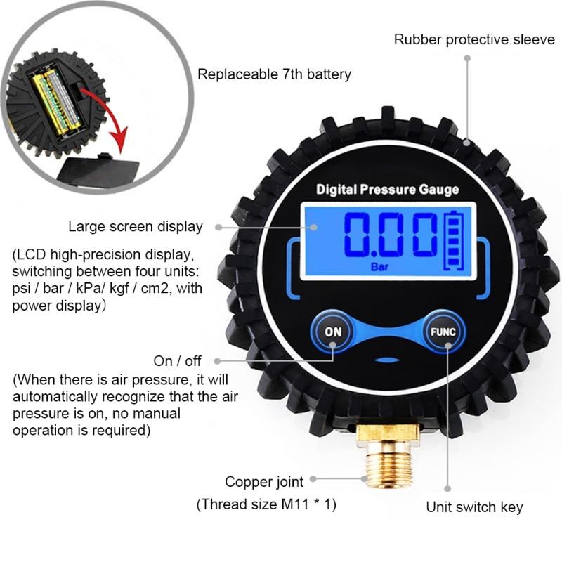 LCD Digital Tire Pressure Gauge Car Auto Motorcycle Tyre Air PSI Meter 1/8