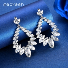Mecresh Unique Leaf Big Teardrop Bridal Dangle Earrings Women Silver Color Horse Eye Crystal Wedding Engagement MEH1628