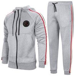 Più degli uomini di Formato Casual Vestito per la Primavera e Autunno Alla Moda Felpa Con Cappuccio Set Sport All'aria Aperta Giacca A Maniche Lunghe e pantaloni