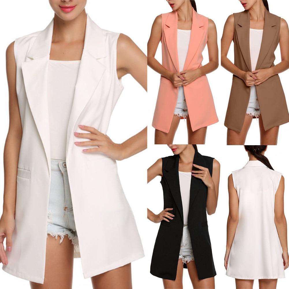H7befdb76dd664f0181dae5853c702f355 Summer V-Neck Vest Pocket Women Thin Loose Waistcoat Single Breasted Sleeveless Blazer Feminino Short Slim Vest Femme Tide XXL