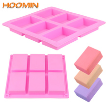 Soap Mold Mould-Tray Handicrafts Diy-Tools Rectangle Silicone 6-Cavity 3D HOOMIN Plain