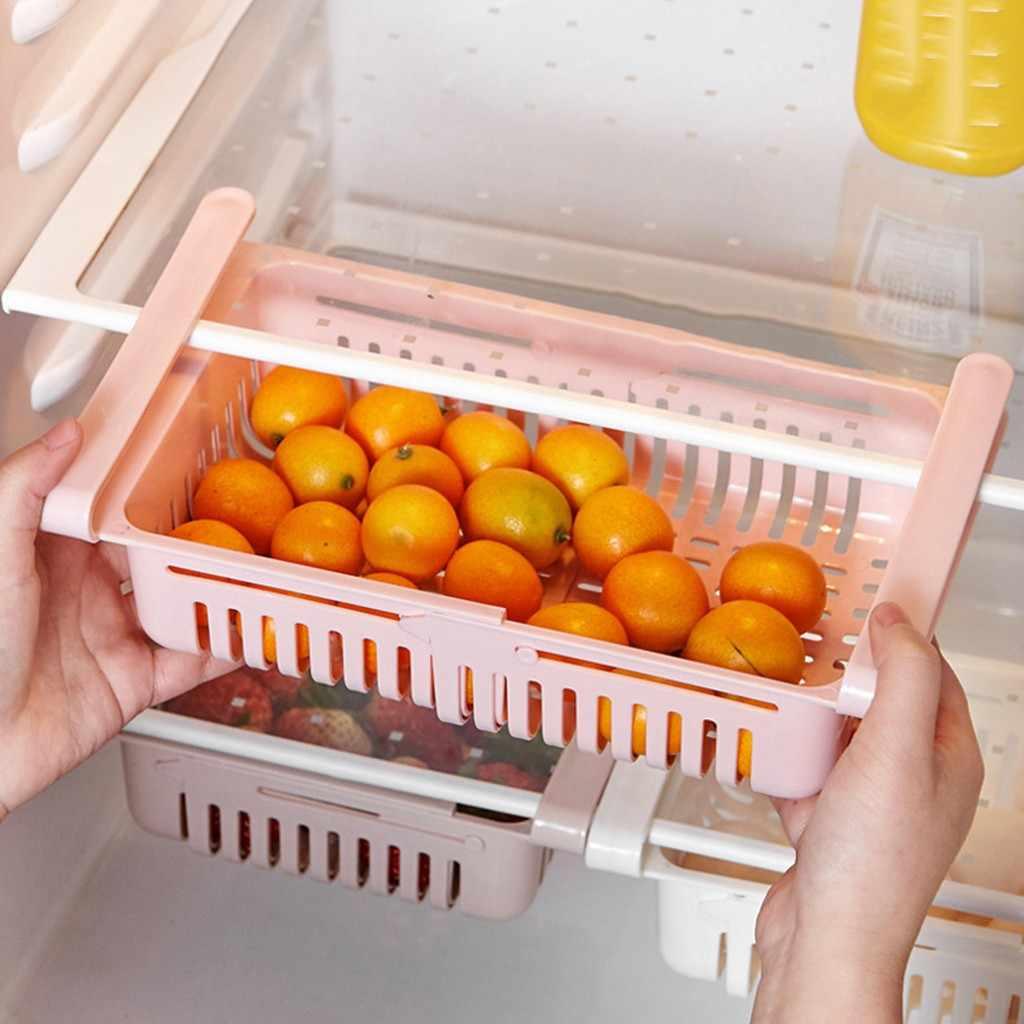 2 PCS למשוך החוצה מקרר אחסון תיבת Creative מחזיק מזון ארגונית מגירת מדף נכונה מטבח ירקות פירות תיבת 1.13