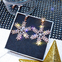 Exquisite Crystal Rhinestone Earring for Women Bijoux Long Tassel Snowflake Dangle Earrings Wedding Bride Jewelry Gifts