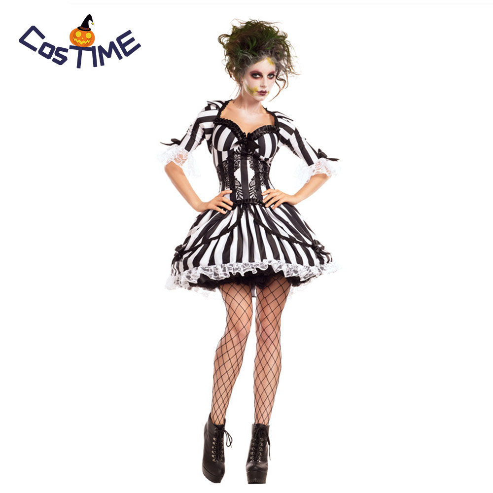 Miss Beetlejuice Costume <font><b>Sexy</b></font> BugJuice Babe Crazy Spirit Dead Psycho Fancy <font><b>Dress</b></font> Adult Female <font><b>Halloween</b></font> Costumes for <font><b>Women</b></font> image