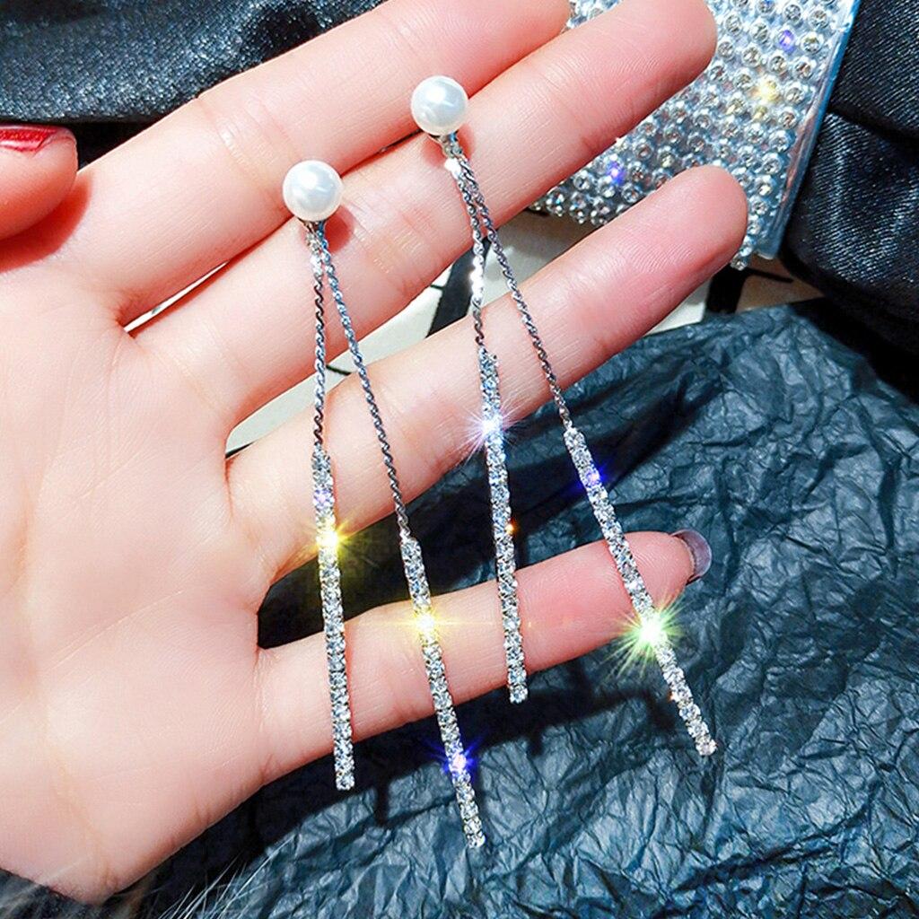 Femmes boucles d'oreilles longues franges Double face artificielle perle boucle d'oreille charme dame tempérament sauvage Simple strass oreille bijoux
