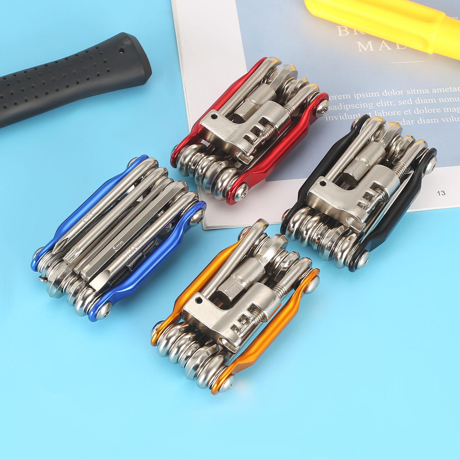 Kit d'outils de réparation de vélo multifonction 11 en 1, tournevis à clé, chaîne à rayons hexagonaux, outils de cyclisme en montagne