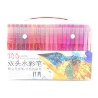 Marcador duplo diário canetas cabeça ponta dupla marcador caneta aquarela desenho cores escova caneta conjuntos