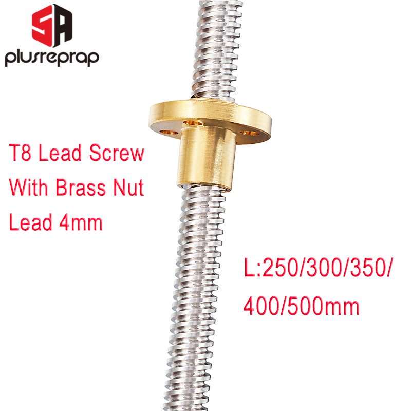 T8 Lead Screw OD 8mm Pitch 2mm Lead 4mm Length 300mm 400mm 500mm Threaded Rods With Brass Nut For Reprap 3D Printer Z Axis