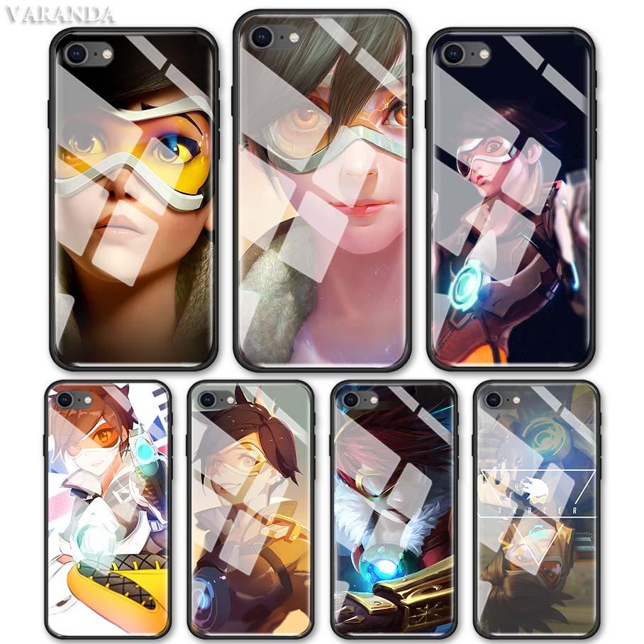 Overwatch personnages traceur étui pour iphone 11 Pro Max X XS XR 7 8 6 6S Plus verre trempé téléphone noir Coque souple couverture de luxe